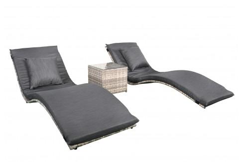 Wicker Loungeset Lancaster - grijs gemêleerd