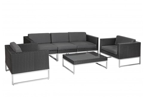 Wicker Loungeset Richmond - zwart