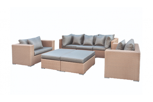 Wicker Loungeset long Beach - licht bruin